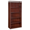 "Lorell Five-shelf Bookcase for Ascent and Concordia Series - 31.5"" x 13.8"" x 68.1"" - 5 x Shelf(ves) - 220 lb Load Capacity - Scratch Resistant, Durable, Stain Resistant, Leveling Glide - Mahogany - La"