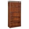 "Ascent Bookcase - 31.5"" x 13.8"" x 68.1"" - 5 x Shelf(ves) - 220 lb Load Capacity - Leveling Glide, Durable, Stain Resistant, Scratch Resistant - Cherry - Laminate - Aluminum, Polyvinyl Chloride"