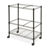 "Mobile Wire File Cart - 4 Casters - Steel - 26"" Width x 12.5"" Depth x 30"" Height - Black"