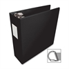 "Business Source Slanted D-Ring Binder - 3"" Binder Capacity - 3 x D-Ring Fastener(s) - 2 Internal Pocket(s) - Chipboard, Polypropylene - Black - 1 Each"
