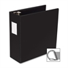 "Business Source Slanted D-ring Binders - 4"" Binder Capacity - 3 x D-Ring Fastener(s) - 2 Internal Pocket(s) - Chipboard, Polypropylene - Black - 1 Each"