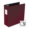 "Business Source Slanted D-Ring Binder - 4"" Binder Capacity - 3 x D-Ring Fastener(s) - 2 Internal Pocket(s) - Chipboard, Polypropylene - Burgundy - 1 Each"