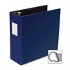 "Business Source Slanted D-Ring Binder - 4"" Binder Capacity - 3 x D-Ring Fastener(s) - 2 Internal Pocket(s) - Chipboard, Polypropylene - Blue - 1 Each"