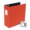 "Business Source Slanted D-Ring Binder - 4"" Binder Capacity - 3 x D-Ring Fastener(s) - 2 Internal Pocket(s) - Chipboard, Polypropylene - Red - 1 Each"