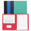 "Two Pocket Folder - Letter - 8 1/2"" x 11"" Sheet Size - 100 Sheet Capacity - 3 x Prong Fastener(s) - 2 Inside Front & Back Pocket(s) - Leatherette - Assorted - Recycled - 25 / Box"