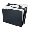 Earthwise 1/3 Cut Recycled File Folder - 1/3 Tab Cut - Assorted Position Tab Location - 11 pt. Folder Thickness - Black, White - 50 / Pack