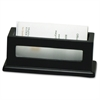 "Victor 1156-5 Midnight Black Business Card Holder - 1.8"" x 4.3"" x 1.6"" - Wood, Faux Leather - 1 Each - Black"