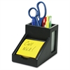 "Victor Midnight Black Pencil Cup with Note Holder - 4.4"" x 5.6"" x 3.9"" - Wood, Glass - 1 Each - Black"