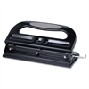 "Manual Hole Punch - 3 Punch Head(s) - 40 Sheet Capacity - 9/32"" Punch Size - Black"
