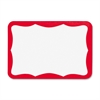 "Business Source Self-stick Name Badge Labels - 2.25"" Width x 3.50"" Length - Rectangle - White, Red - 100 / Pack"