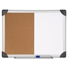 "Dry Erase/Cork Board Combination - 18"" Height x 24"" Width - Natural Cork Surface - Aluminum Frame - 1 Each"