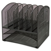 Lorell Horizontal Vertical Mesh Desk Organizer - 8 Compartment(s) - Black - Steel - 1Each