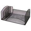 Lorell Mesh Desktop Organizer - 2 Compartment(s) - Black - Steel - 1Each