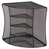 Lorell Mesh Corner Desktop Organizer - 2 Pocket(s) - Black - Steel - 1Each