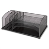 "Lorell Mesh Desktop Organizer - 6 Compartment(s) - 8.3"" Height x 19.6"" Width x 11.3"" Depth - Black - Steel - 1Each"