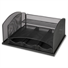 "Lorell Mesh Desktop Organizer - 3 Drawer(s) - 10.8"" Height x 7.9"" Width x 15.3"" Depth - Black - Steel - 1Each"