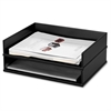 Victor Wood Stacking Letter Tray - Desktop - Black - Wood, Faux Leather - 1Each