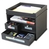 "Victor Midnight Black Collctn Tidy Tower Organizer - 10.9"" Height x 12.8"" Width x 10.6"" Depth - Desktop - Black - Wood, Faux Leather - 1Each"