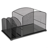 Lorell Steel Mesh Hanging File Desktop Organizer - 2 Pocket(s) - Black - Steel - 1Each