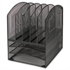 "Lorell Mesh Horizontal Vertical Desktop Organizer - 5 Compartment(s) - 13"" Height x 9.5"" Width x 11.4"" Depth - Black - Steel - 1Each"