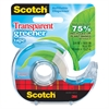"Scotch Transparent Greener Tape w/ Dispenser - 0.75"" Width x 50 ft Length - 1"" Core - Photo-safe, Non-yellowing, Glossy - Dispenser Included - Handheld Dispenser - 1 Roll - Clear"
