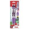Pentel EnerGel Liquid Steel Tip Gel Pens - Medium Point Type - 0.7 mm Point Size - Refillable - Violet Gel-based Ink - Violet, Silver Barrel - 2 / Pack