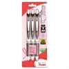 Pentel Deluxe EnerGel Liquid Gel Pens - Medium Point Type - 0.7 mm Point Size - Refillable - Black Gel-based Ink - Black, Silver Barrel - 3 / Pack