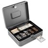 "Steelmaster Tiered Tray Cash Box - 2 Bill - 5 Coin - Steel - Gray - 3.2"" Height x 11.8"" Width x 9.4"" Depth"