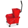Genuine Joe Steel Handle Mop Bucket/Wringer Combo - 26 quart - Plastic - Red