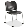 "Safco Vy Straight Leg Stack Chairs w/ Casters - Plastic Seat - Plastic Back - Steel Powder Coated Frame - Four-legged Base - Black - Polypropylene - 18.50"" Seat Width x 17"" Seat Depth - 22.5"" Width x"