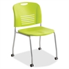 "Safco Vy Straight Leg Stack Chairs w/ Casters - Plastic Seat - Plastic Back - Steel Powder Coated Frame - Four-legged Base - Grass Green - Polypropylene - 18.50"" Seat Width x 17"" Seat Depth - 22.5"" Wi"