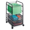 "Safco Onyx Mesh Open File with Drawers - 2 Drawer - 75 lb Capacity - 4 Casters - 1.50"" Caster Size - Steel - 15.8"" Width x 17"" Depth x 27"" Height - Black Steel Frame - Black"