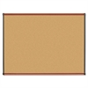 "Lorell Cherry Finish Natural Cork Board - 48"" Height x 36"" Width - Natural Cork Surface - Cherry Wood Frame - 1 Each"