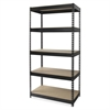 "Lorell Riveted Steel Shelving - 5 Compartment(s) - 84"" Height x 48"" Width x 24"" Depth - Recycled - Black - Steel - 1Each"