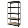 "Lorell Riveted Steel Shelving - 5 Compartment(s) - 72"" Height x 36"" Width x 16"" Depth - Recycled - Black - Steel - 1Each"