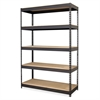"""Riveted Steel Shelving - 5 Compartment(s) - 72"""" Height x 48"""" Width x 18"""" Depth - Recycled - Black - Steel - 1Each"""