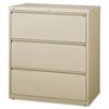 "Lorell 3-Drawer Putty Lateral Files - 36"" x 18.6"" x 40.3"" - 3 x Drawer(s) for File - Letter, Legal, A4 - Lateral - Locking Drawer, Magnetic Label Holder, Ball-bearing Suspension, Leveling Glide - Putt"