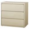 "Lorell 3-Drawer Putty Lateral Files - 42"" x 18.6"" x 40.3"" - 3 x Drawer(s) for File - Letter, Legal, A4 - Lateral - Locking Drawer, Magnetic Label Holder, Ball-bearing Suspension, Leveling Glide - Putt"