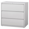 "Lorell 3-Drawer Lt. Gray Lateral Files - 42"" x 18.6"" x 40.3"" - 3 x Drawer(s) for File - Letter, Legal, A4 - Lateral - Locking Drawer, Magnetic Label Holder, Ball-bearing Suspension, Leveling Glide - L"