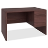 "Small Office Desk - 48"" x 30"" x 29.5"" - 2 x Box Drawer(s), File Drawer(s) - Single Pedestal on Right Side - Waterfall Edge - Material: Hardwood, Particleboard - Finish: Laminate, Mahogany"