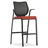 "HON Nucleus Series Cafe-height Stool - Foam Seat - Four-legged Base - Black, Harvest - 19"" Seat Width x 19"" Seat Depth - 25"" Width x 24.5"" Depth x 46.5"" Height"