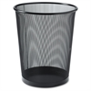 "Lorell Black Steel Mesh Round Waste Bin - 4.70 gal Capacity - Round - 14.3"" Height x 12"" Diameter - Steel - Black"