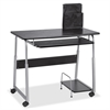 "Lorell Mobile Computer Desk - Rectangle Top - 41.50"" Table Top Width x 20.50"" Table Top Depth x 0.71"" Table Top Thickness - 29"" Height - Black, Laminated, Silver"