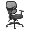 "Mesh-Back Leather Executive Chair - Leather Black Seat - 5-star Base - Black, Silver - Leather - 27"" Width x 27"" Depth x 40.5"" Height"