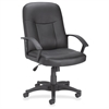 "Lorell Leather Managerial Mid-back Chair - Black Frame - 5-star Base - Black - Bonded Leather - 20.50"" Seat Width x 20"" Seat Depth - 27.5"" Width x 26.3"" Depth x 42"" Height"