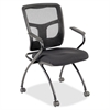 "Lorell Mesh Back Fabric Seat Nesting Chairs - Fabric Seat - Metal Powder Coated Frame - Four-legged Base - Black - Mesh - 24.4"" Width x 24"" Depth x 37"" Height"