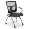 "Lorell Mesh Back Fabric Seat Nesting Chairs - Fabric Seat - Metal Powder Coated Frame - Four-legged Base - Black - Mesh - 24.4"" Width x 24"" Depth x 37"" Height"