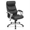 "Lorell Executive High-back Chair - Black Seat - 5-star Base - Black, Silver - Bonded Leather - 30"" Width x 27"" Depth x 46.5"" Height"