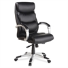 "Lorell Executive Bonded Leather High-back Chair - Black Seat - Powder Coated Frame - 5-star Base - Black, Silver - Bonded Leather - 30"" Width x 27"" Depth x 46.5"" Height"