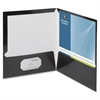 "Business Source Two-Pocket Folders with Business Card Holder - Letter - 8 1/2"" x 11"" Sheet Size - 100 Sheet Capacity - 2 Internal Pocket(s) - Black - 25 / Box"